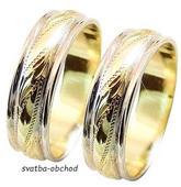 Snubní prsten B15 - zlato bílé-žluté-bílé,