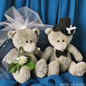 Šedí svatební medvídci 07,