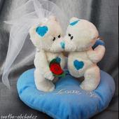 Svatební medvídci na polštářku 001,