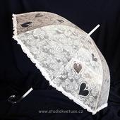 Deštníček 04 průhledný s bílou krajkou,