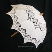 Deštníček bílý 06 šitá krajka,