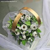 Prsteny na auto 07 bílé růže,