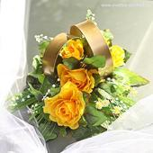Prsteny na auto 05 žluté růže,