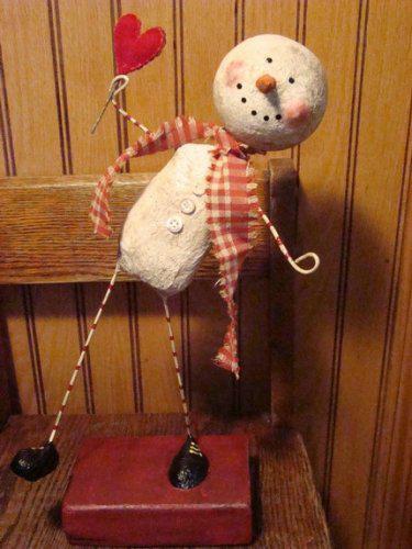 Drobnůstky pro radost - zůstavší sněhulák z Vánoc, adaptovaný na Valentýna:-)