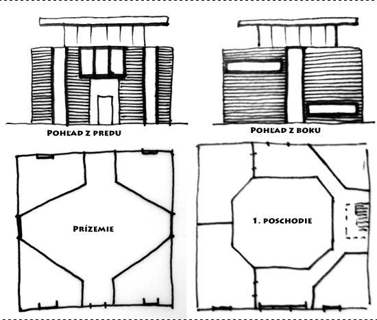 Ako si navrhnúť dom. - 1. návrh, trochu uletený, určite by bol drahý, ale nič ine z tých pokreslených papierov nestalo za zverejnenie...