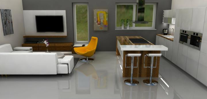 """Vizualizácia pre Lucku a Petra - trocha jemnejšia šedá a biele stoličky, definitívne to farebne """"upraceme"""", keď dorobíme zvyšok obývačky a jedálenskú časť"""