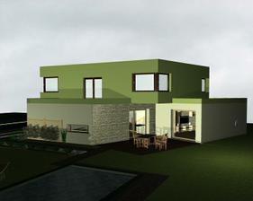 Pozemok je atypický, zahrada bude naboku, nie za domom, preto je terasa orientovaná do boku:)