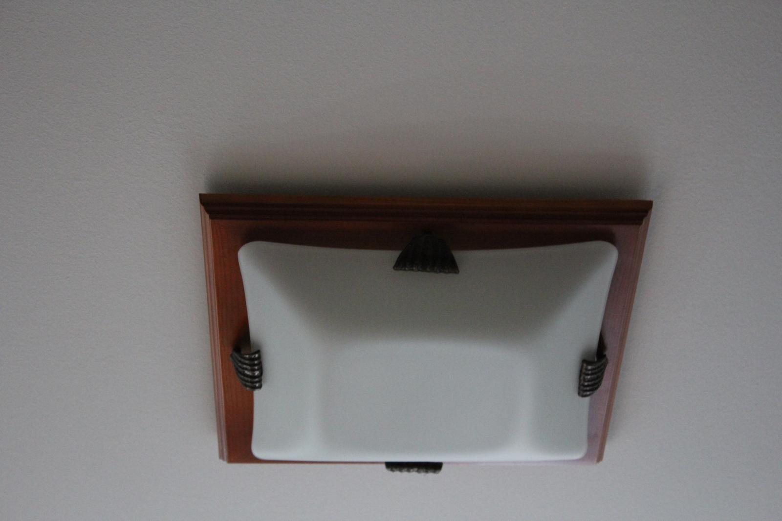 Štvorcové svetlo sklo + drevo na 2 žiarovky - Obrázok č. 1