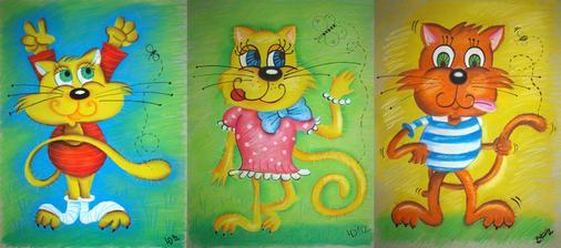 Tak rámy na zdi už mají obsah. Velmi ráda kreslím.... a kočky a kocoury ze všeho nejraději :)