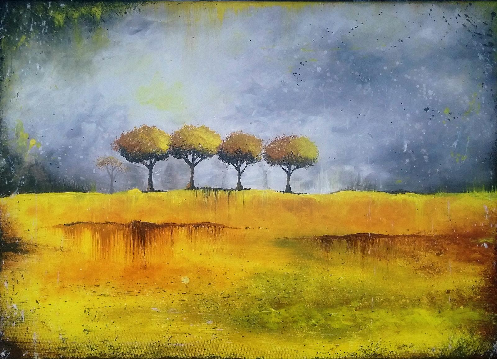 "Dalsi veledilo :-) ... Kdyz Adamek spal, ""Žlutá krajina"" akryl na platne 70 x 50 cm - Obrázek č. 1"