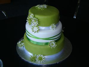 Náš dortíček....akorát bude jen jedno patro zelené jinak bude bílý