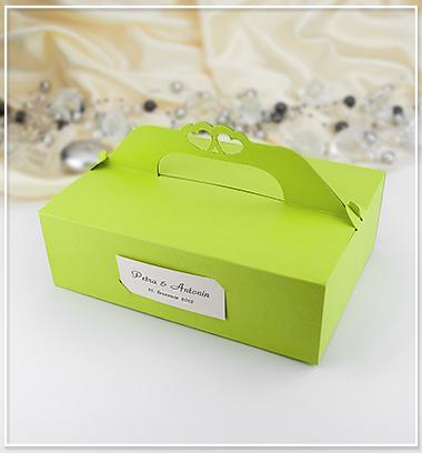 cernygoldpress - Zelená svatební krabička na výslužku.