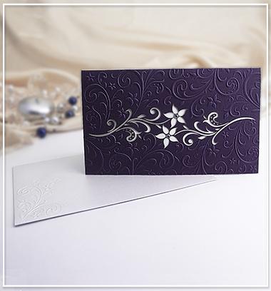 Fialové svatební oznámení s květinami - G910A - Obrázek č. 1