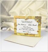 Béžové svatební oznámení s květinami - G940,