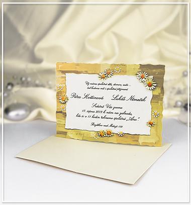 Béžové svatební oznámení s květinami - G940 - Obrázek č. 1