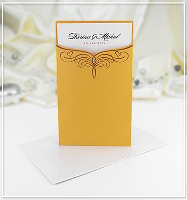 Oranžové svatební oznámení ve tvaru kapsy - G980 - Obrázek č. 1