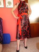 čierno-červené spoločenské šaty, 38