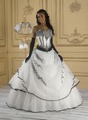 bílo-černé plesové šaty, 46