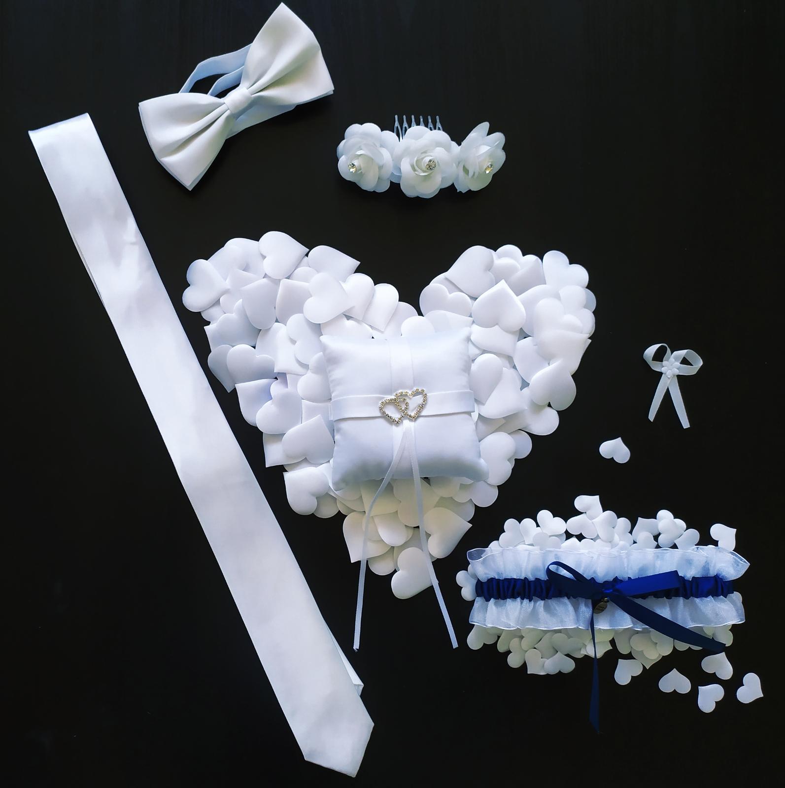 bílá svatební sada dopňků - Obrázek č. 1
