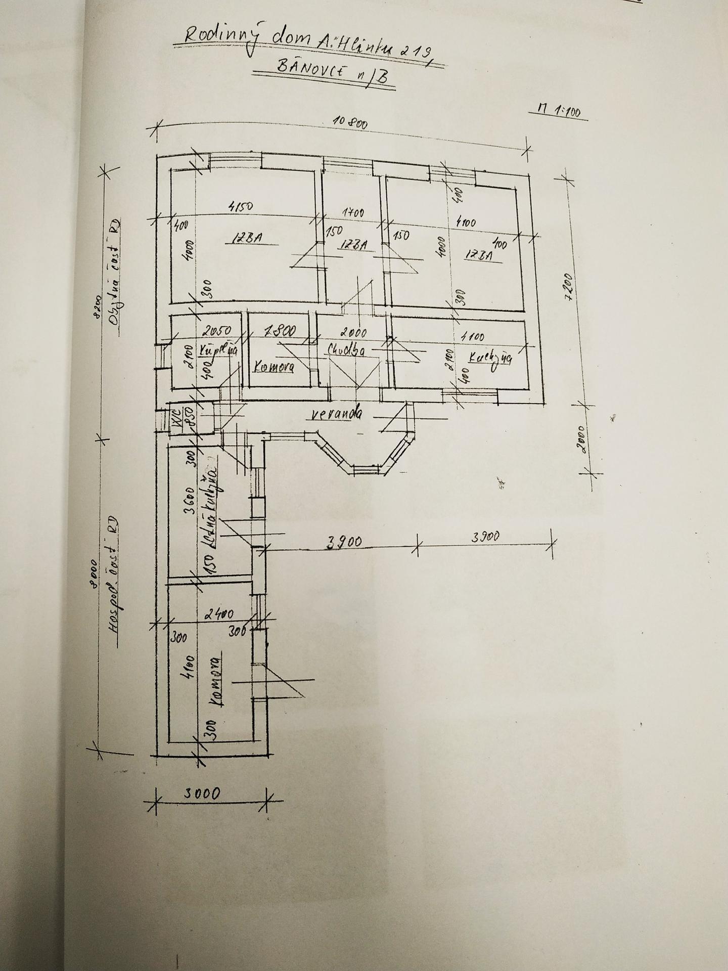 Rekonštrukcia a prístavba - Predchádzajúci stav - pôdorys