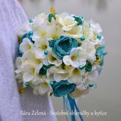 Svatební kytice - Tyrkysová růže,