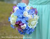 Svatební kytice - modrá hortenzie,