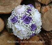 Svatební kytice a korsáž - fialová růže,