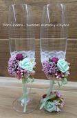 Svatební skleničky pro novomanželé - mint, růžová,