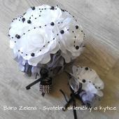 Svatební kytice černo-bíla + korsáž,