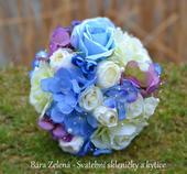 Svatební kytice a korsáž - modrá hortenzie ,