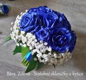 Svatební kytice - modrá růže ,