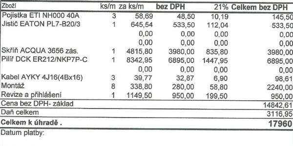 Původní rozpočet na pilíř - Obrázek č. 1