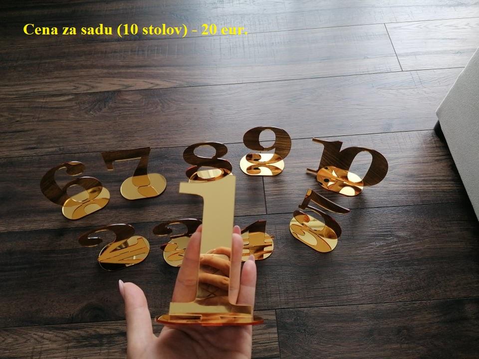 Elegatné zrkadlové čísla stolov - zlatá farba. - Obrázok č. 1