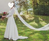 Vintage svatební krajkové šaty s rukávem 38-42, 40