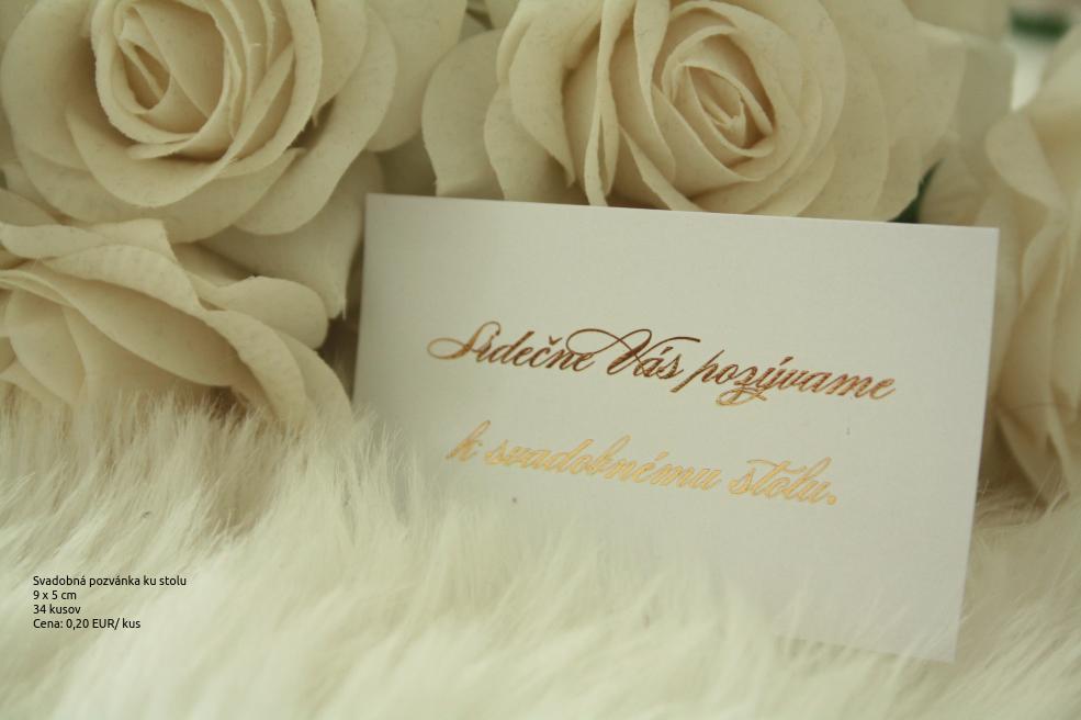 Pozvánka ku svadobnému stolu - pozlátená - Obrázok č. 1