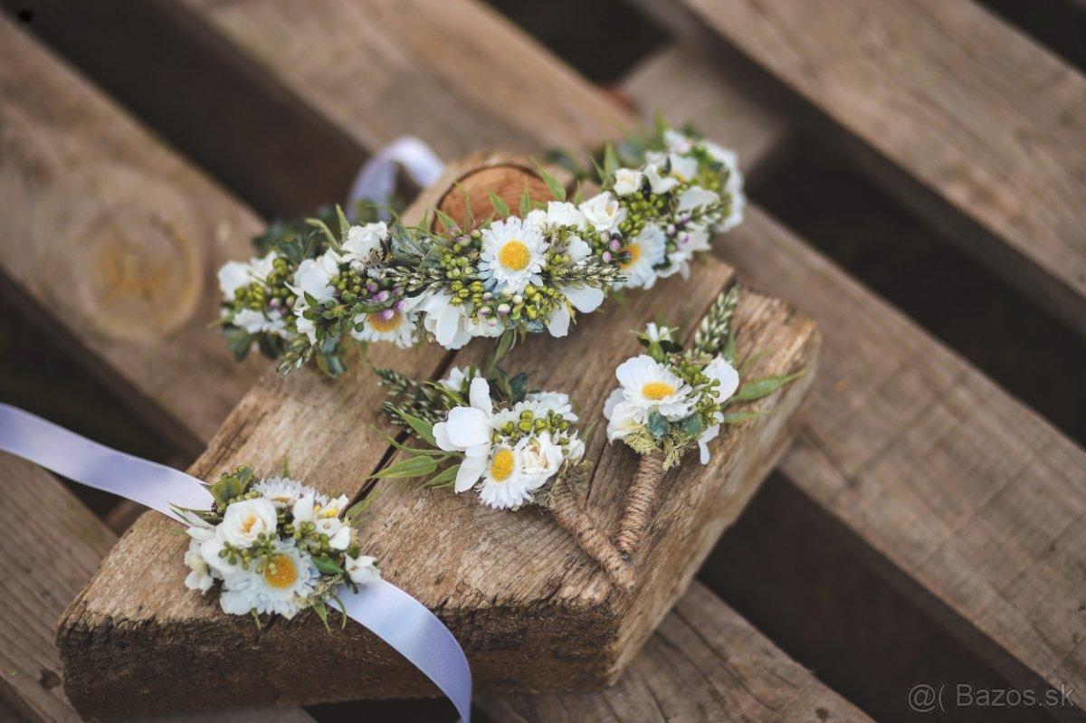 Svadobný venček, pierka, náramky - Obrázok č. 1