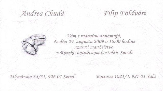 """Naše prípravy na deň """"D"""" - 29.08.2009 - naše svadobné oznámenie"""