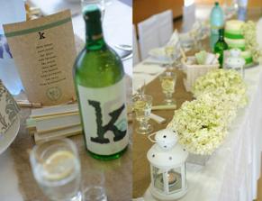 Kvetinová výzdoba na hl. stôl vo formách na biskupský chlebíček. Menovky na stôl- z nepotrebných pijákov nazbieraných v práci