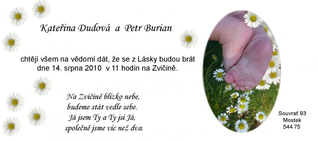 Naše svatební oznámení s nožičkama našeho synáčka a báseň od ženicha