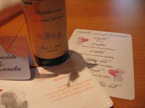 oznámení,jmenovka, menu a vínečko