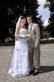 Svadobné šaty pre vyššie nevesty-znížená cena, 42