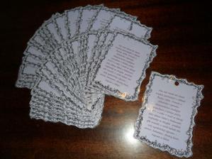 Kartičky na pytlíčky s mandlema..   :))