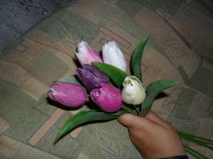 uvažuji o takovách tulipánech jsou sice umělé ale vypadají  fakt dobře....   a když je joch velké množství vypadají úžasně   uvažuju o zhruba tak 20-30 do jedné vázy   uvidím ještě   , tyhle jsou zatím jen na zkoušku