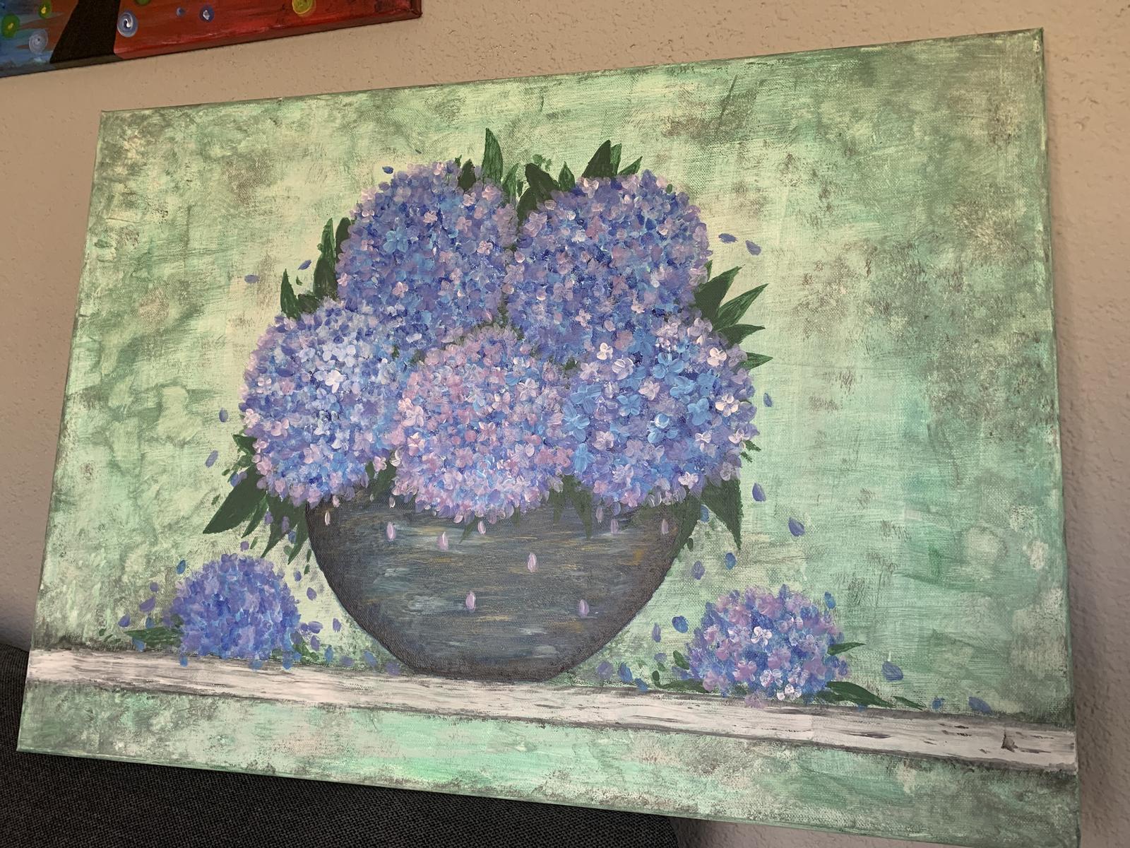 Obraz Hortenzie maľované akrylom - Obrázok č. 1