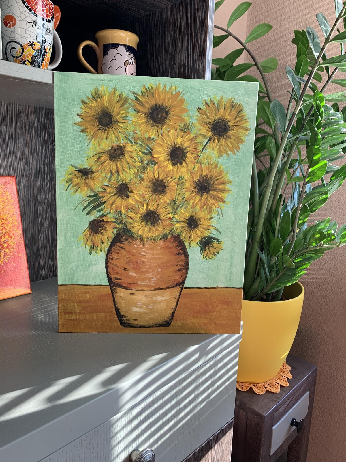 Slnečnice maľované akrylom - Obrázok č. 1