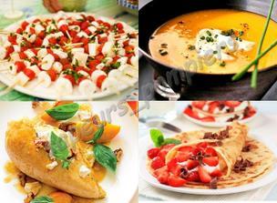 Nebo něco neobvyklého? Předkrm: caprese, polévka: zeleninový krém, hlavní chod: kuřecí prsa na broskvích a dezert: palačinka s ovocem?