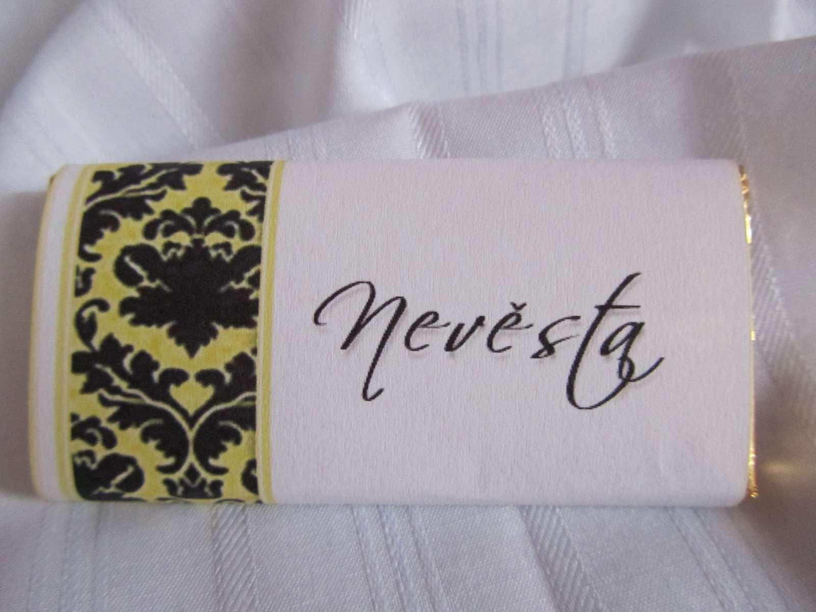 svatební čokoládové jmenovky na svatební stůl - Obrázek č. 1