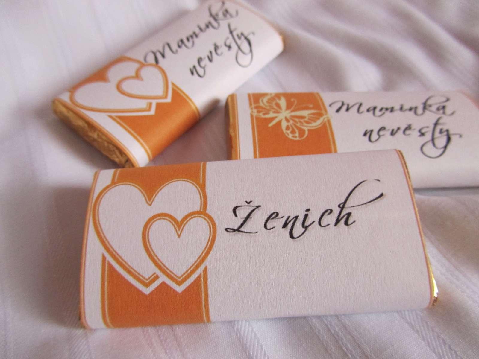 svatební čokoládové jmenovky na svatební stůl - Obrázek č. 3