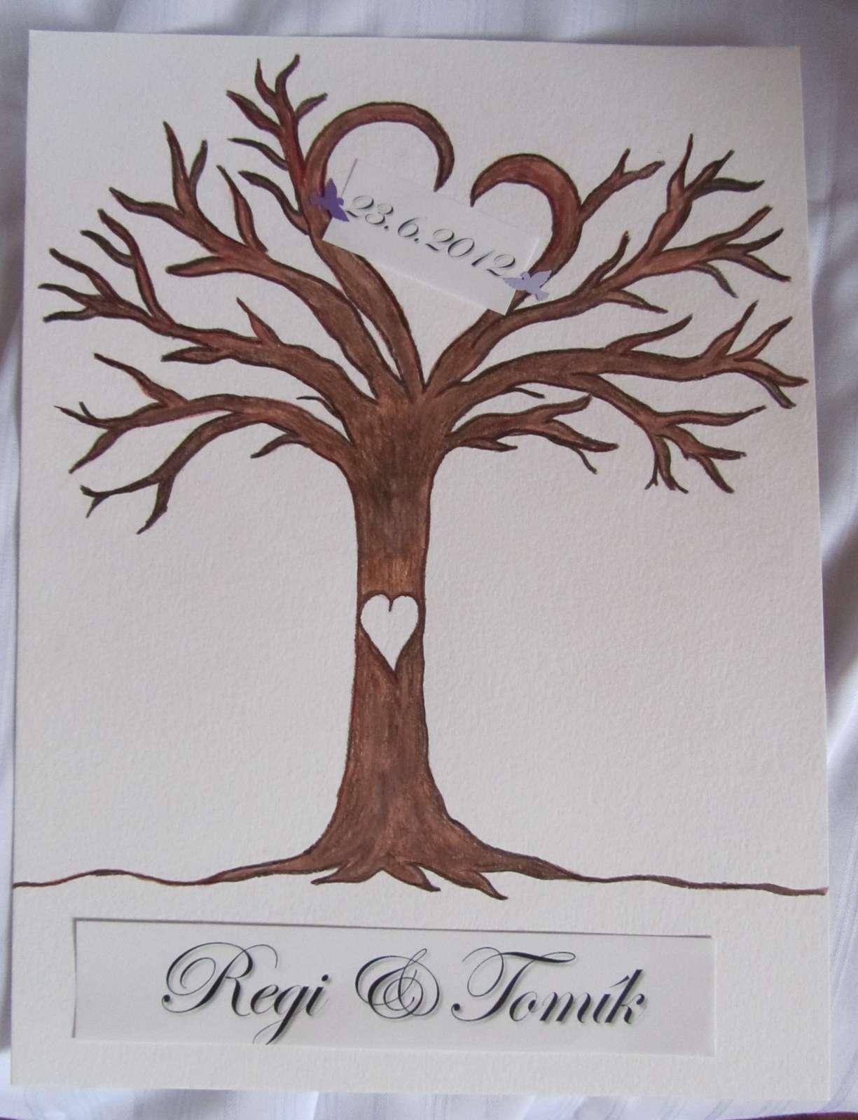svatební strom -2- ručně malovaný - Obrázek č. 1