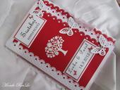 svatební kniha hostů- butterfly červená,